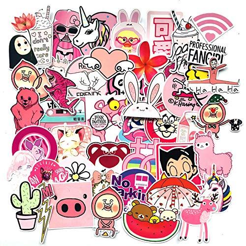SHUYE Pegatinas de Cerdo Rosa de Dibujos Animados Bonitos, Pegatinas para Maleta, monopatín, Motocicleta, Pegatinas Impermeables para Coche con Personalidad, 50 Hojas