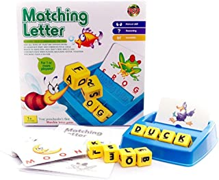 Match and Spell Board Game for Children and Preschoolers Family Fun Developmental Puzzle Games Alphabet Letter Word Spelling Games 25.5 x 25.2cm
