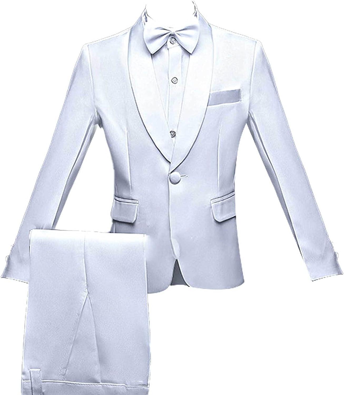 Sholeno Kids Boys Formal Party Outfit Long Sleeve Lapel Blazer Pants Bowtie Girdle Suit Gentleman Set