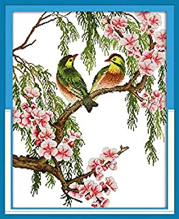 Joy Sunday Red-Billed Leiothrix Counted Cross Stitch Kits,Embroidery Kit 14 Count Cross-Stitch 17''x21''