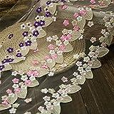 39.3En Color Bordado Accesorios de encaje, DIY Hecho a mano Disfraz de muñeca de Barbie Accesorios de decoración de boda, Accesorios de cortina Materiales de artesanía Adecuados para telas caseras