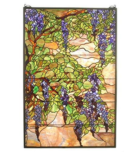 """Meyda Tiffany 51338 Tiffany Wisteria & Snowball Stained Glass Window, 32"""" W x 48"""" H"""