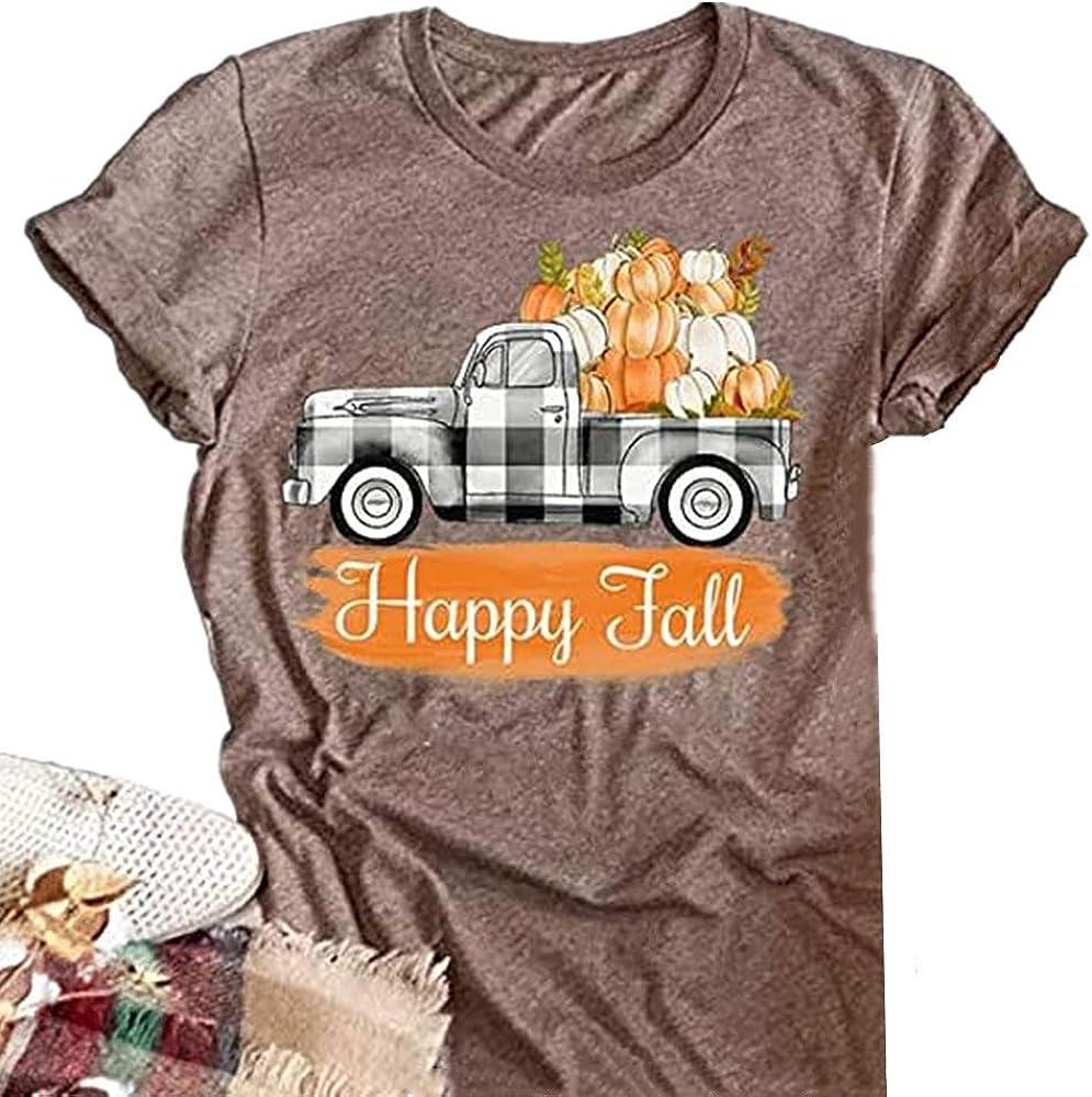 Halloween Happy Fall T Shirt Super Special SALE held Nashville-Davidson Mall Womens Pumpkin Plaid Truck Buffalo