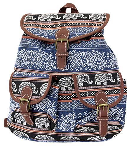 Leoodo Rucksack Damen ethno ethnische Daypacks schicke Schultertasche für Reisen Urlaub mit Elefanten Muster, Damen Tasche:Hell Blau