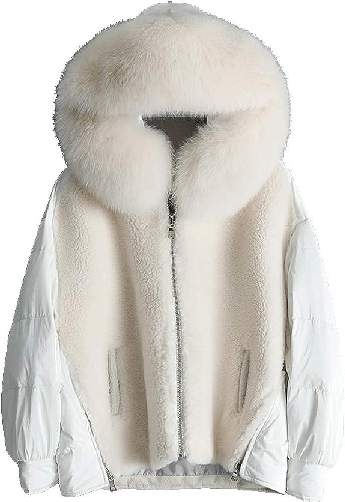 Denny&Dora 2019 New Womens Faux Fur Coat Wool Coat Sheepskin Shearing Jacket Hooded White Duck Down Jacket Short Winter Coat