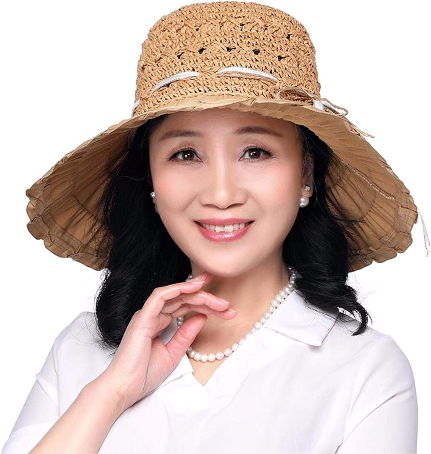 Chuiqingnet Gift for Mom Gift for grandmother Summer hat, summer resort, straw hat sunscreen hat Beach Hat middle age hat Hat