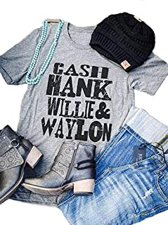 Cool-Eletina T Shirt Tops for Women Cash Hank Willie Waylon Vintage Letters Tees Funny Cute