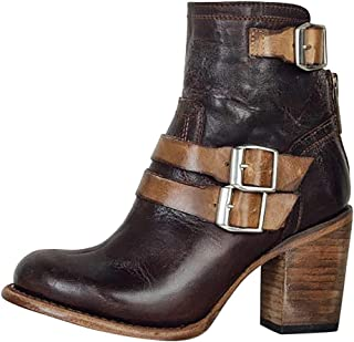 manadlian Femme Chaussures Rétro Bottes à Talon Carré pour Femmes Bottes en PU Bottes à Zipper Escarpins à Bout Pointu Cha...