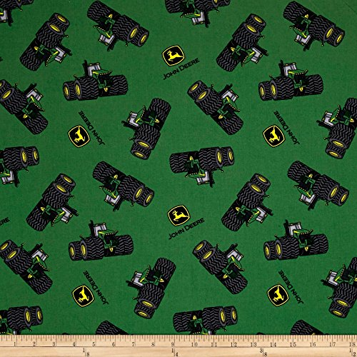 Springs Creative Products John Deere Tossed Tractor and Logo Green Fabric by The Yard
