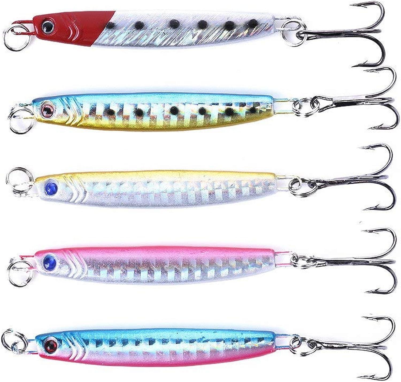 Generic 10pcs 7CM 14G with 3 Hooks Squid jigs Fishing Lures Metal Lead sea Sinking Fishing baits Wobble Peche Bass Pesca Fishing Tackles