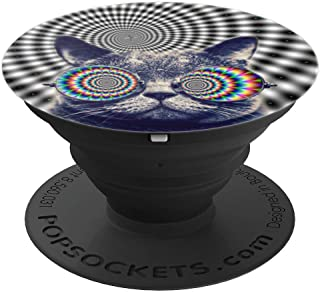 Cool Trippy Cat, Rainbow Sunglasses - PopSockets Grip and Stand for Phones and Tablets