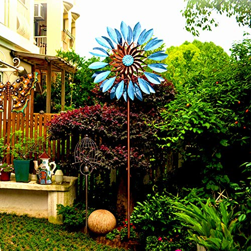 MKIU Sunflower Wind Spinner, 360 Degree Mute Spin Vertical Metal Sculpture Stake Dual Direction Kinetic Wind Windmill for Patio Lawn & Garden, 60x213cm