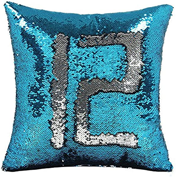 UChioce Reversible Sequins Mermaid Pillowcases Pillow Cover That Changes Color By Mermaid Silver And Blue 16 X16
