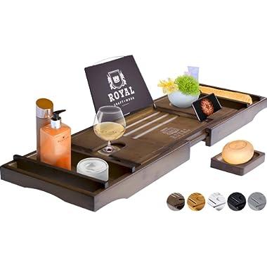 ROYAL CRAFT WOOD Luxury Bamboo Bathtub Caddy Tray, Free Soap Holder (Brown)