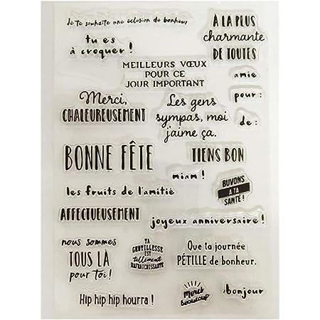 Angelliu tampons Transparents DIY Lettre française Silicone tampons Transparents Scrapbooking Gaufrage Album Photo Papier Décoratif Carte Artisanat