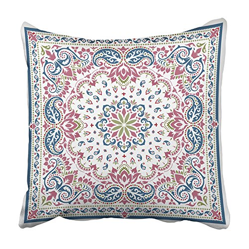 Emvency Throw Pillow Covers 20x20 Inch Decorative Square Cushion Black Abstract Paisley Bandana Silk Neck Scarf Kerchief Pattern Design Style Two Sides Print Pillowcase for Bed Chair Sofa
