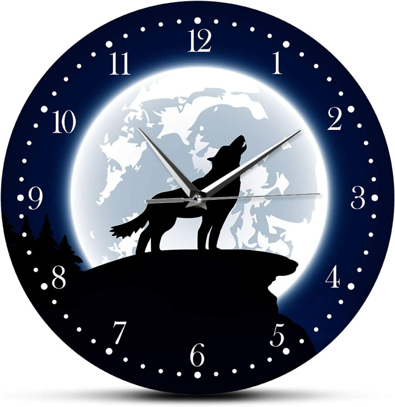 Wall Clock Wilderness Wolf 55% OFF price Decorative Moon with