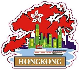 Flaga narodowa Hong Kong i naklejka z mapą do personalizacji ulubionych przedmiotów, takich jak walizki