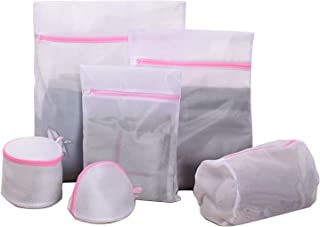 6Pcs Mesh Laundry Bags for Delicates with Premium Pink Zipper,Travel Storage Organize Bag,Laundry Garment Bag for Bra,Underwear, Blouse,Hosiery,Socks,Shoes