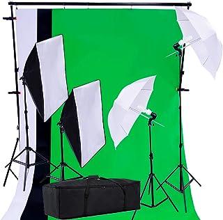 PRO SYSTEM AUDIOTEK Kit Set Fotográfico Estudio Profesional Fotografía Video Pantallas Cicloramas Sombrillas Softbox Lampa...