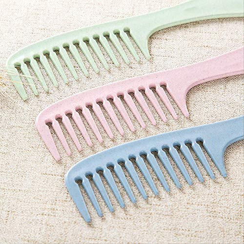 Comb Teeth Comb Plastic Heat-resistant Large Wide Tooth Hairdressing Long Hair Combing Household Anti-static Massage Creative Style 3pcs