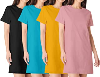 Premium Womens Plain Knee Length Cotton Round Neck Half Sleeves Combo Pack of 4 Multicolour Tshirts. Knee Long, Three Four...