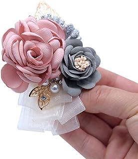 Florashop Pink Satin Rose Wrist Corsage & boutonniere Wedding Bridal Bridesmaid Wrist Corsage Wristband and Men's Groom Br...