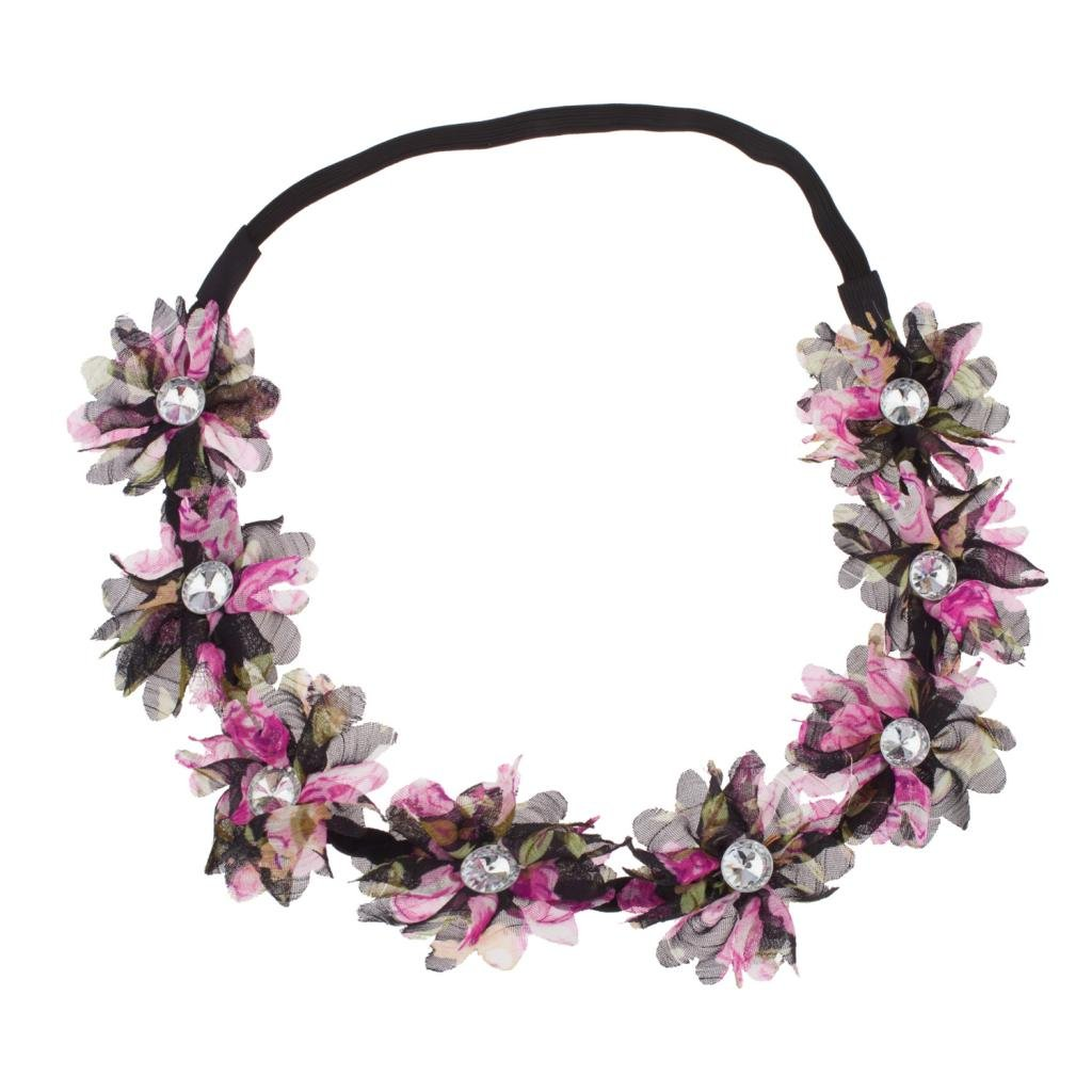 Lux Accessories Stretch Fit Chiffon Ditzy Floral Pattern Headband Head Crown Flower Crown Head Piece Purple