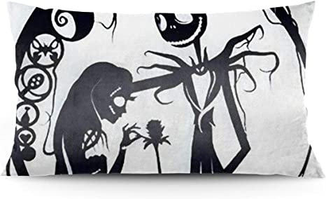 The Nightmare Before Christmas Pillow Case Cushion Cover Jack Sally Sofa Decor