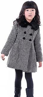 Kids Toddlers Girls Thick Wool Classic Plaid Dress Coat Jacket Windbreaker