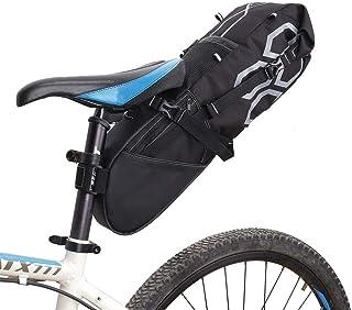 Bolsa de Sillín,bicicleta bolsa, impermeable y compacta / Bolsa de sillín para bicicleta con espacio de almacenamiento para cicloturismo, fácil de sujetar con la correa de velcro, negro (12 l)