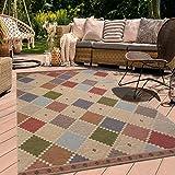 Alfombra exterior 200 x 290 cm rectangular Damier EX multicolor terraza jardín apta para calefacción por suelo radiante.