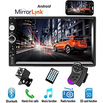 Double Din Car Stereo Receiver Support AM//FM Radio Steering Wheel Control Mirror Link Bluetooth USB 7 Inch Car Radio Head Unit 4LED Lights Backup Camera