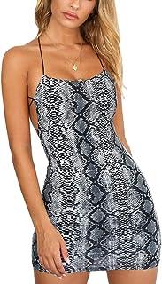 Vestido Corto Mujer Verano Sexy Vestido Ceñido Piel de Serpiente Vestido Mini con Tirantes de Espagueti