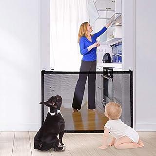 AUTOWT Puerta mágica para perros, valla de puerta de gato de escalera plegable para mascotas de 110x72 cm con ganchos adhe...