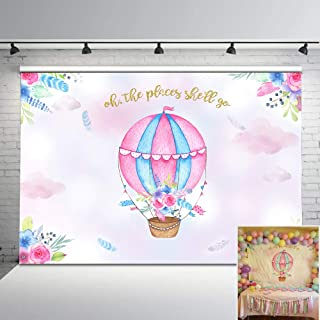 Mehofoto Hot Air Balloon Backdrop Adventure Baby Shower Photo Background for Girls' Birthday Party 7x5ft Hot Air Balloon Baby Shower Backdrops for Photoshoot Props