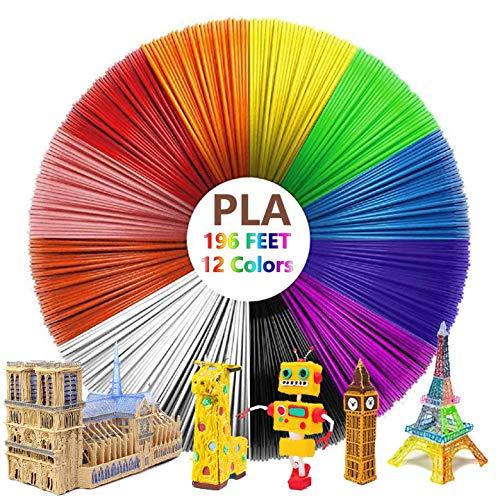 3D Pen Filament Refills PLA, 12 Colours 3D Pen Printer Filament Refills 1.75mm for Intelligent 3D Pen (16.4 Feet Per Colour Total 197 Feet) (12 Colour)