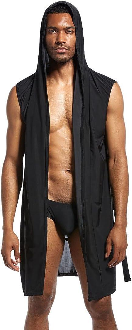 Mendove Men's Silky Sexy Sleeveless Summer Robe Hooded Bathrobe