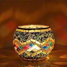 Mobestech Castiçal de Vidro de Mosaico Castiçais de Estilo Europeu Enfeite de Mesa Com Suporte de Tealight para O Natal Fe...