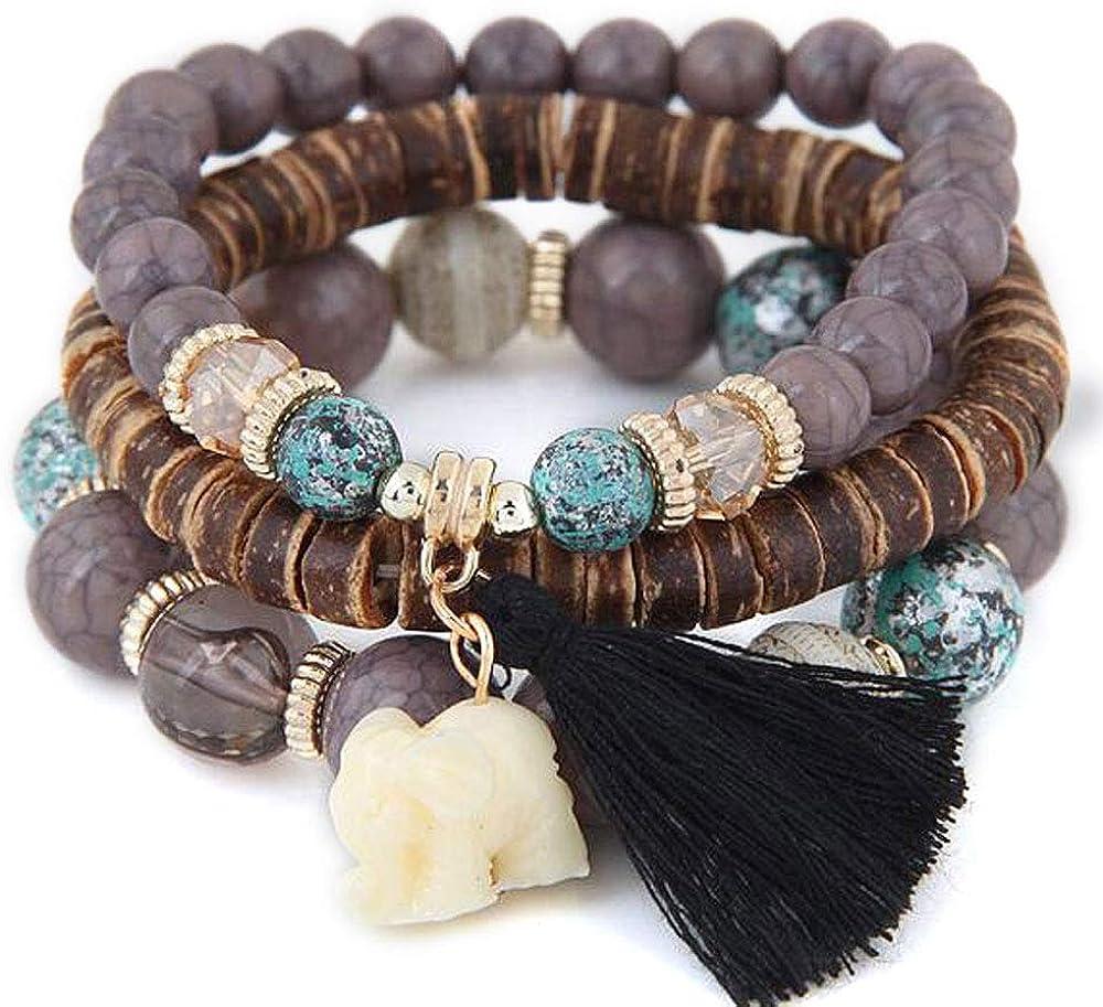 papasgix Fashion Wood Beads Bracelets Boho Small Elephant Charm