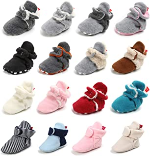 Sawimlgy US Newborn Baby Boys Girls Cozy Fleece Booties Stay On Slippers Socks - Infant Soft Soles Grippers Non-Skid Crib Shoe First Birthday Gift