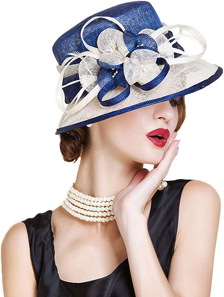 F FADVES Sinamay Cloche Bucket Hat for Women Fascinators Floral Church Wedding Kentucky Derby