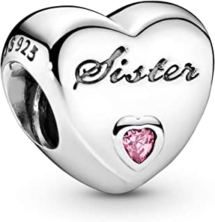 Pandora Jewelry - Sister's Love Charm in Sterling Silver with Pink Cubic Zirconia