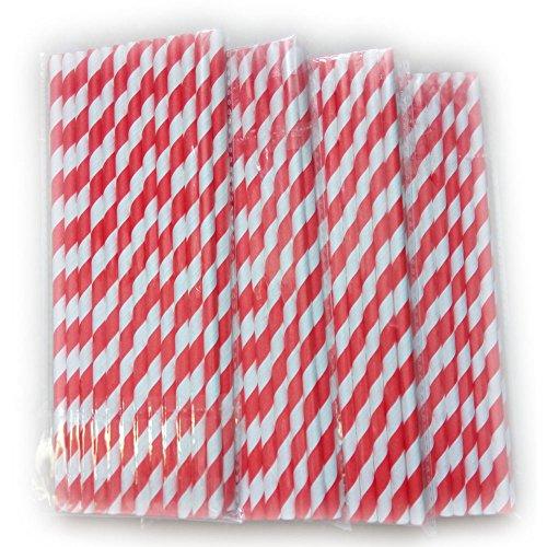 FRE 100 Stück Einweg trinken Strohhalme Papier Strohhalm gestreifte Trinkhalme (Rot und Weiß)