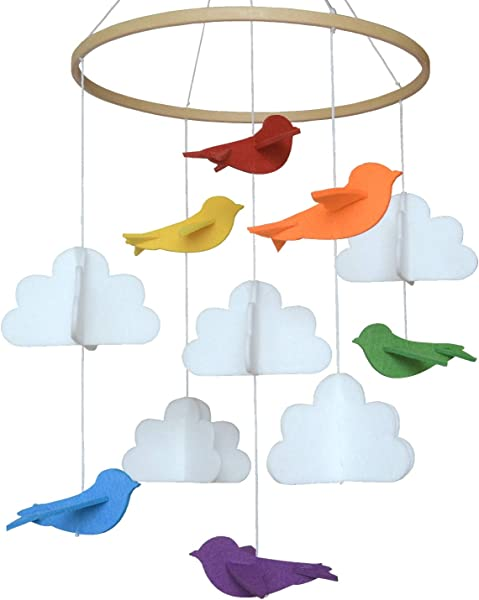 Baby Crib Mobile By Sorrel Fern Rainbow Birds Clouds Felt Nursery Ceiling Decoration For Girls Boys