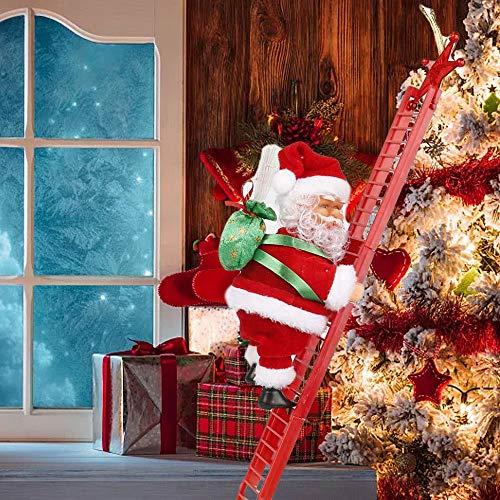 Giocattolo Elettrico della Scala di Arrampicata del Babbo Natale, Bambola di Peluche della Decorazione Creativa di Natale di Musica per la Decorazione di Natale dellalbero dellornamento Appeso