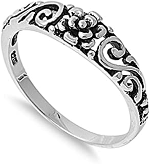 e3fab0ee76 Sterling Silver Women's Simple Plain Flower Ring Promise 925 Band 5mm Sizes  ...