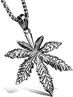 Men Vintage Stainless Steel Creative Fallen Natural Leaves Hemp Maple Leaf Hip Hop Pendant Amulet Handmade Necklace