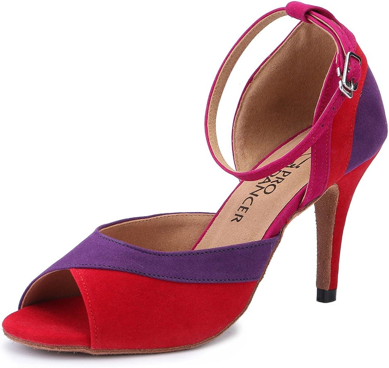 Pro Dancer Women Ballroom Dance shoes Salsa Sandals Latin Dance Heels Red