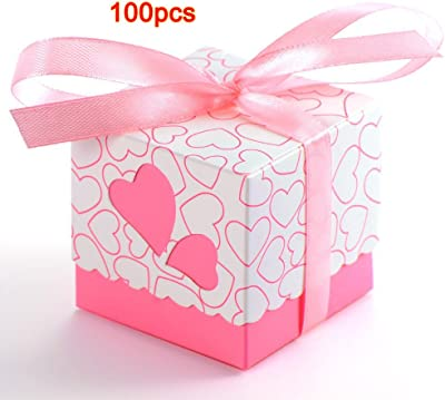 SODIAL(R) 100x Dragee Wedding Bridal Wedding Heart Baptism decoration table + ribbon pink